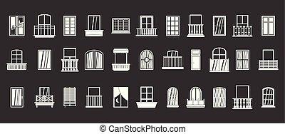 okno, wektor, komplet, szary, ikona