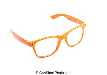 oko, do góry, odizolowany, zamknięcie, biały, okulary
