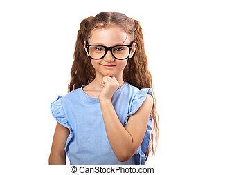 oko, dziewczyna, myślenie, okulary, odizolowany, space., patrząc, tło, biały, kopia, uśmiechanie się, opróżniać, szczęśliwy