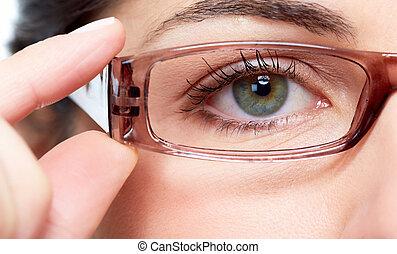 oko, eyeglasses., kobieta