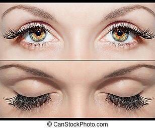 oko, i, fałszywe rzęsy