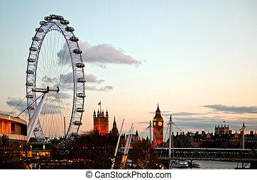 oko londyna, na, zmierzch