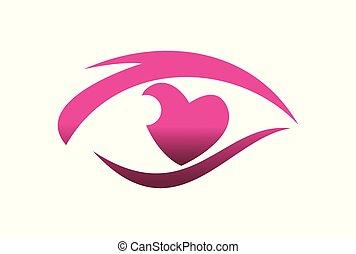 oko, miłość, widzenie, logo