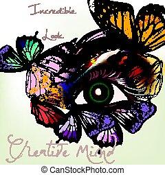 oko, motyl, fason, samica, skrzydełka, ilustracja