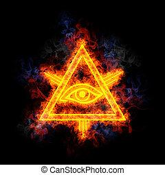 oko, od, przezorność, pokryty, w, flames.