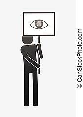 oko, odizolowany, demonstrator