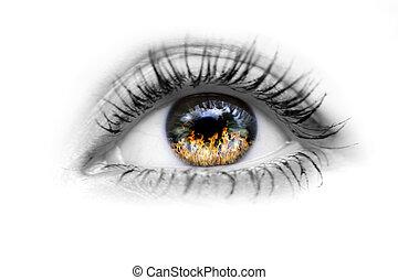 oko, ogień, oczy