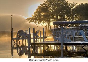 okoboji, hen, sø, solopgang