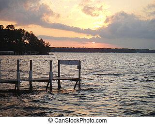 okoboji, sur, coucher soleil
