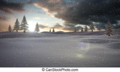 okolica, śnieg, spadanie