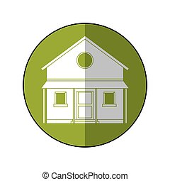 okolica, dom, koło, zielony, familiy