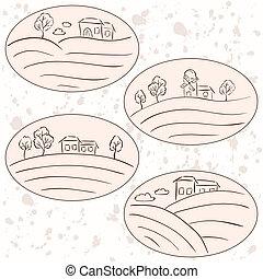okolica, etykiety, -, domy, rysunki, krajobraz