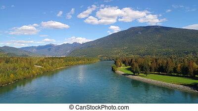 okolica, góra, rzeka, sceniczny, 4k