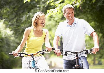 okolica, jeżdżenie, para, rowery