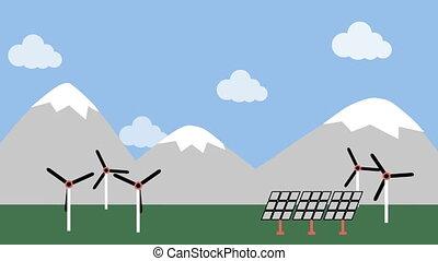 okolica, turbina, wiatr, poduszeczka słoneczności