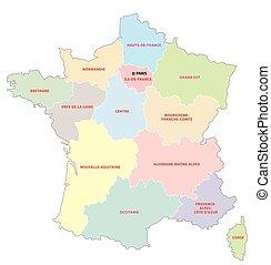 okolice, mapa, połączony, francuski