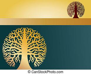 okrągły, dwa, drzewa