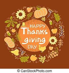 okrągły, dzień, kolor, tekst, dziękczynienie, wektor, ułożyć, handwritten, piękny, card., szczęśliwy, ilustracja, jesień
