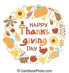 okrągły, dzień, tekst, dziękczynienie, wektor, ułożyć, handwritten, piękny, card., szczęśliwy, ilustracja, jesień