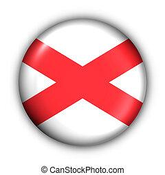 okrągły, guzik, usa, państwowa bandera, od, alabama