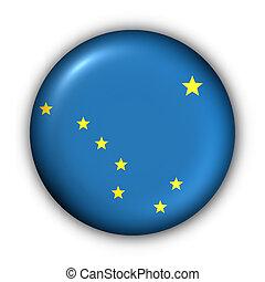 okrągły, guzik, usa, państwowa bandera, od, alaska