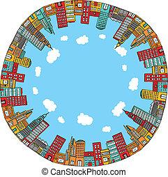 okrągły, miasto skyline