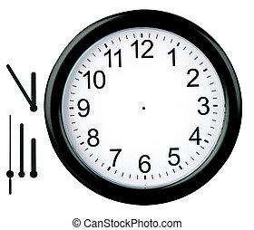 okrągły, zegar, odizolowany