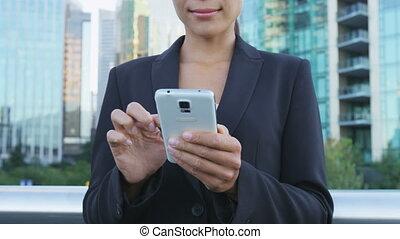 okręg, app, sms, texting, telefon, miasto, mądry, handlowy, ...