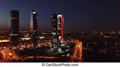 okręg, prospekt, torres), cztery, (cuatro, handlowy, wieże, ...