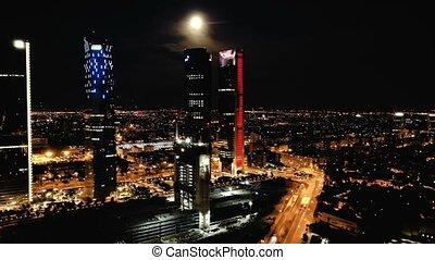okręg, prospekt, wieże, hiszpania, cztery, noc, madrid., ...