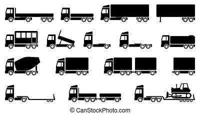 okrętowy, przewóz, płaski, przewóz, eps, wektor, ciężarówki, komplet, ilustracja, projektować, 10