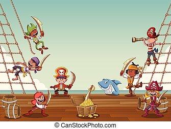 okrętujcie pokłady, piraci, rysunek