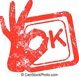 Ok red grunge rubber stamp with the hand sign in stead of the O position