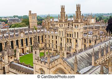oksford, całe dusze, uk, college.