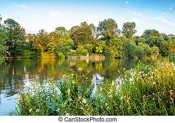 oksford, river., tamiza, anglia