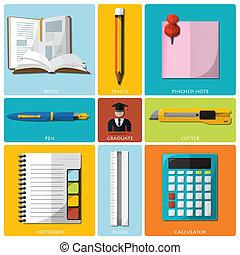 oktatás, és, fokozatokra osztás, eszközök, lakás, ikon, állhatatos