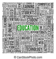 oktatás, és, tanulás, fogalom, szavak, alatt, címke, felhő