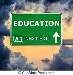 oktatás, út cégtábla, ellen, világos, kék ég