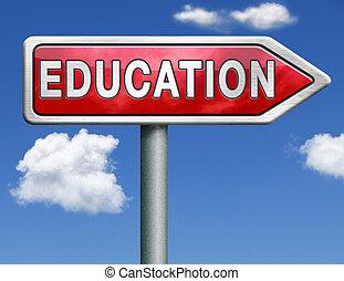 oktatás, út cégtábla, nyíl