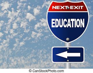 oktatás, út cégtábla