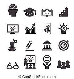 oktatás, ügy, ikon