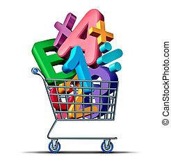 oktatás, bevásárlás
