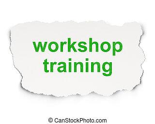 oktatás, concept:, műhely, képzés