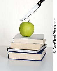 oktatás, darabol, képben látható, a, way., metaphor.