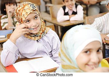 oktatás, elfoglaltságok, alatt, osztályterem, -ban, izbogis,...