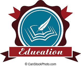 oktatás, embléma, vagy, ikon