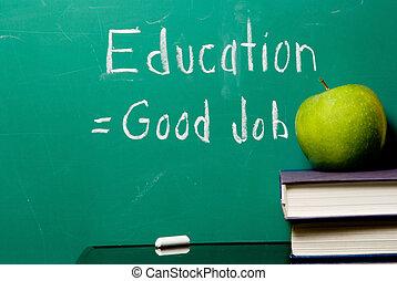 oktatás, equals, jó munka