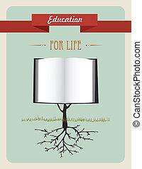 oktatás, fa, könyv, concept.