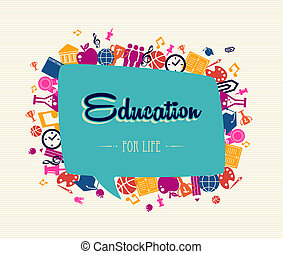 oktatás, fogad to tanít, társadalmi, buborék, globális, icons.