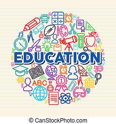 oktatás, fogalom, ábra